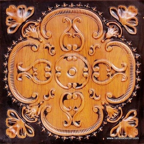217 Antique Teakwood Faux Tin Ceiling Tile