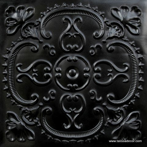 217 Black Glossy Faux Tin Ceiling Tile