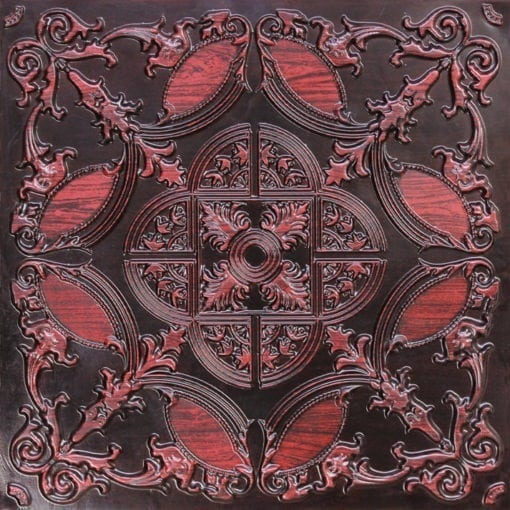 218 Antique Rosewood Faux Tin Ceiling Tile