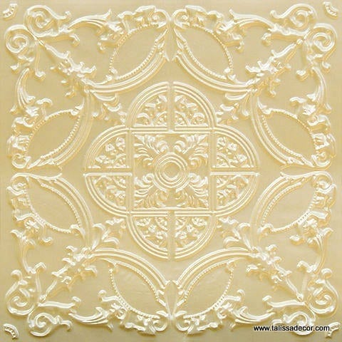 218 Cream Pearl Faux Tin Ceiling Tile