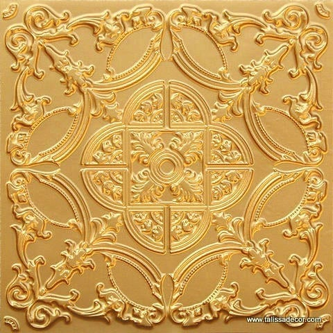 218 Gold Faux Tin Ceiling Tile