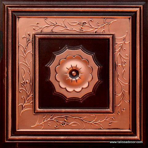 219 Antique Copper Faux Tin Ceiling Tile