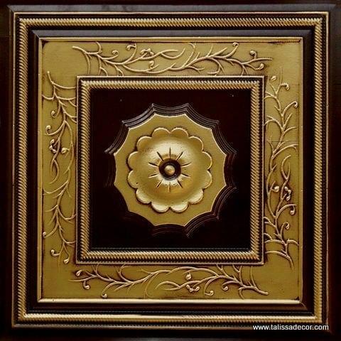 219 Antique Brass Faux Tin Ceiling Tile