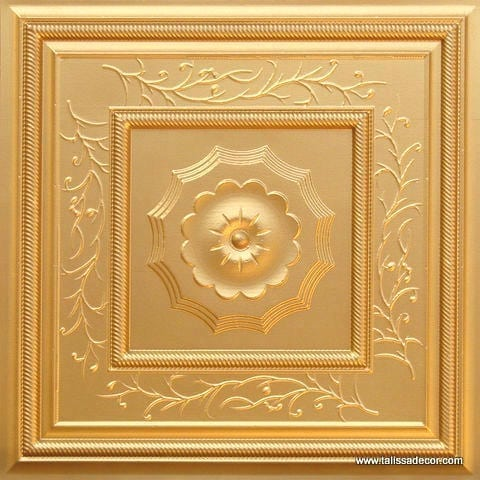 219 Gold Faux Tin Ceiling Tile