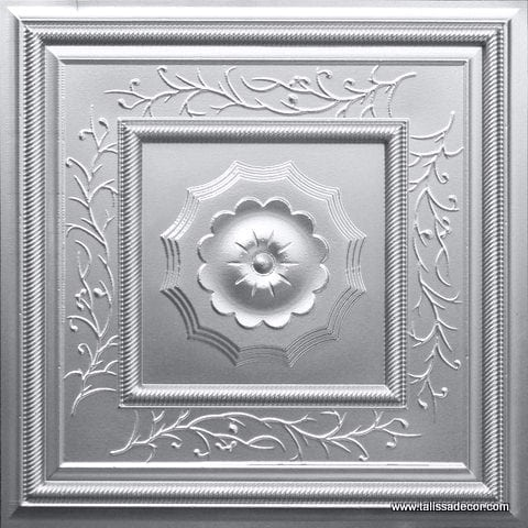 219 Silver Faux Tin Ceiling Tile