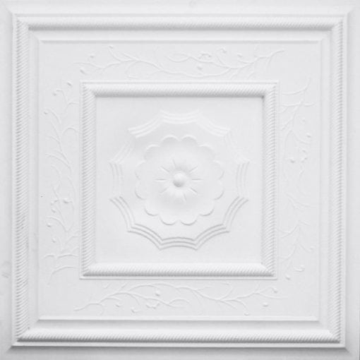 219 White Matte Faux Tin Ceiling Tile