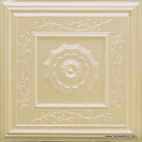 219 Cream Pearl Faux Tin Ceiling Tile