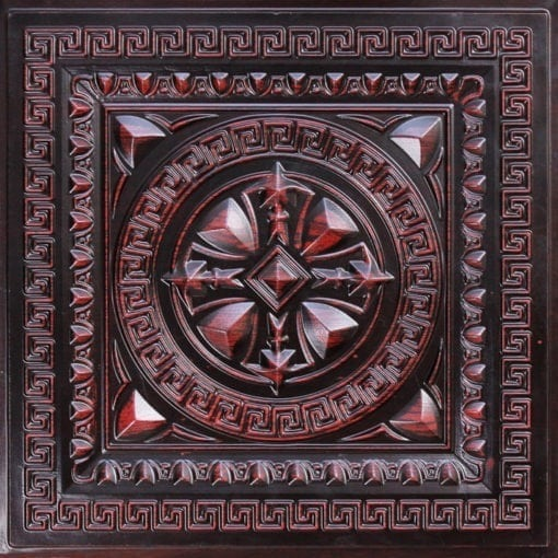 220 Antique Rosewood Faux Tin Ceiling Tile