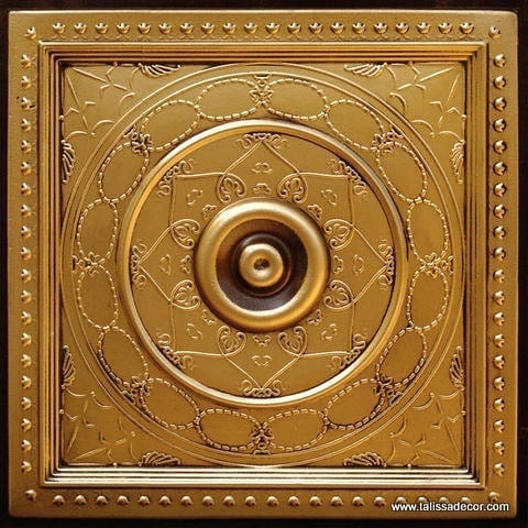 221 Antique Gold Faux Tin Ceiling Tile
