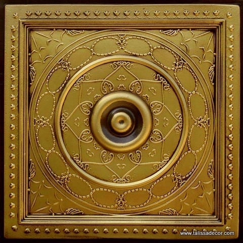 221 Antique Brass Faux Tin Ceiling Tile