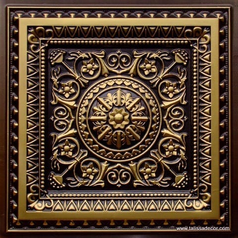 223 Antique Brass Faux Tin Ceiling Tile