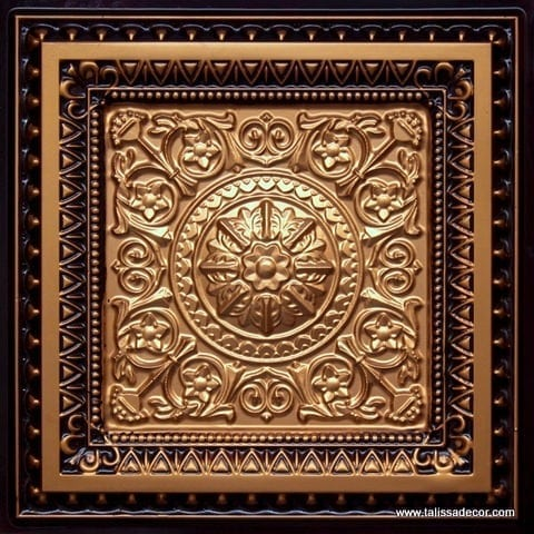 223 Gold-Antique Gold Faux Tin Ceiling Tile