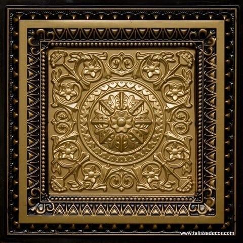 223 Brass-Antique Brass Faux Tin Ceiling Tile