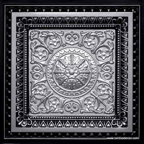 223 Silver-Antique Silver Faux Tin Ceiling Tile