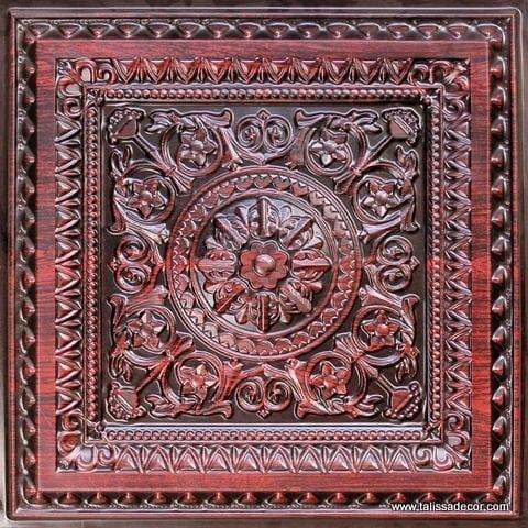 223 Antique Rosewood Faux Tin Ceiling Tile