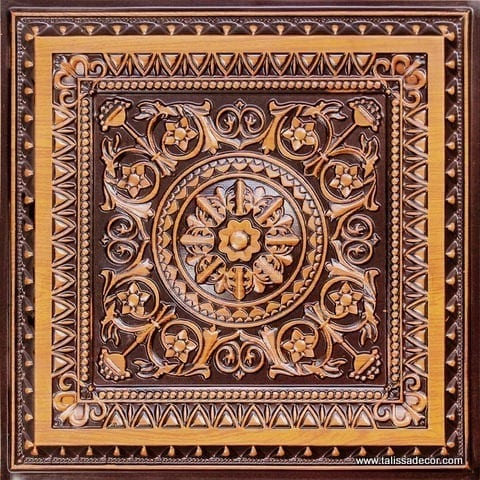 223 Antique Teakwood Faux Tin Ceiling Tile