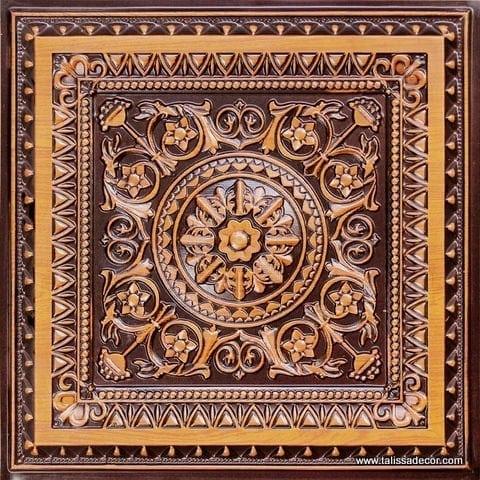 223 Antique Teakwood Faux Tin Ceiling Tile