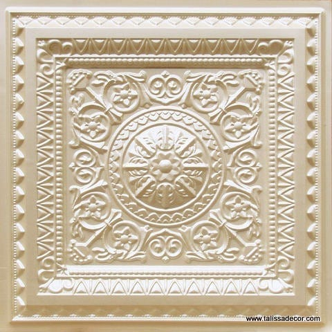 223 Cream Pearl Faux Tin Ceiling Tile