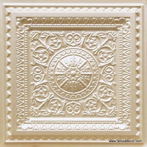 223 Cream Pearl Faux Tin Ceiling Tile