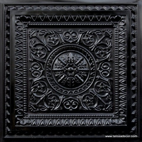 223 Black Glossy Faux Tin Ceiling Tile