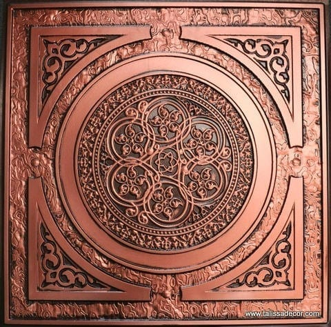 225 Antique Copper Faux Tin Ceiling Tile