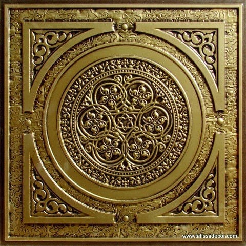225 Antique Brass Faux Tin Ceiling Tile