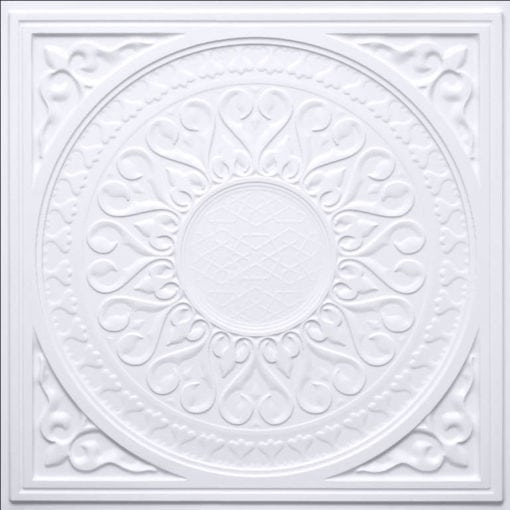 226 White Matte Faux Tin Ceiling Tile