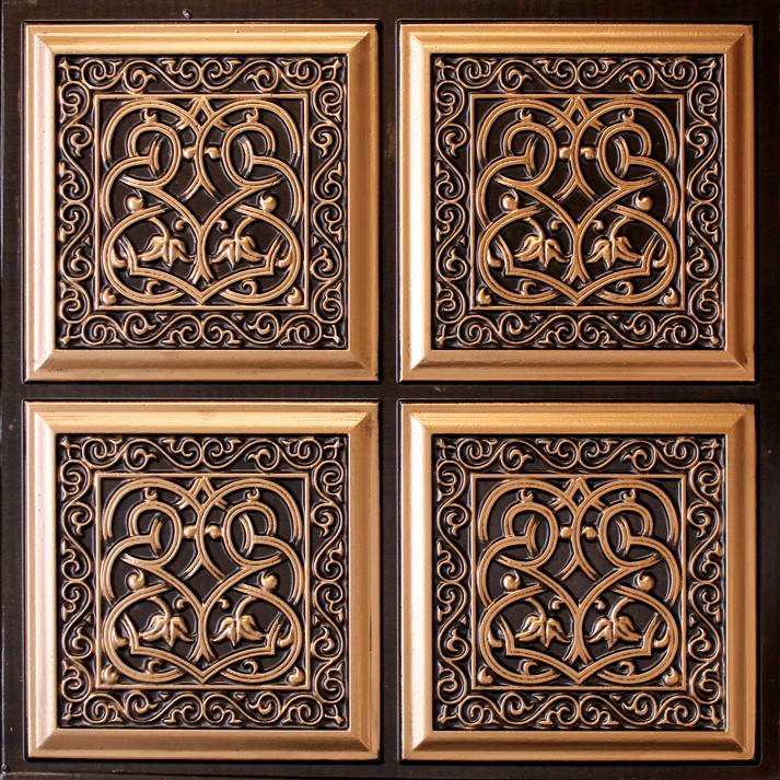 231 antique gold faux tin ceiling tile - Faux Tin Ceiling Tiles