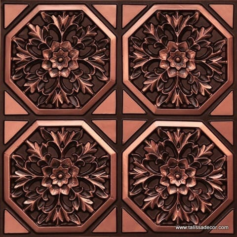 108 Antique Copper Faux Tin Ceiling Tile