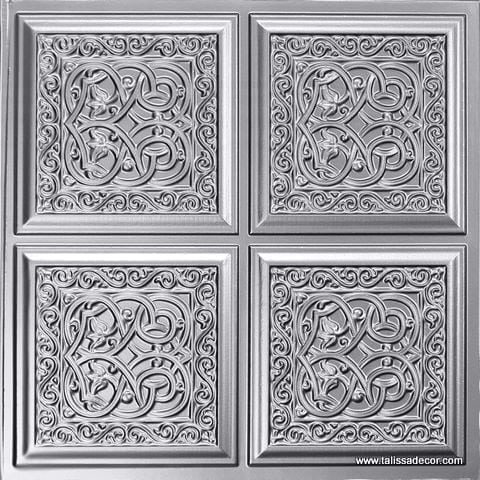231 Silver Faux Tin Ceiling Tile