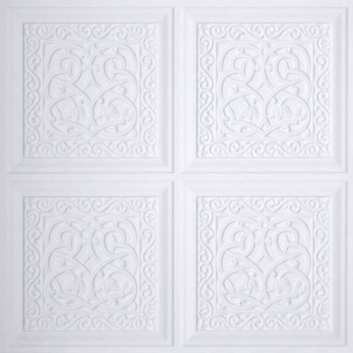 231 White Matte Faux Tin Ceiling Tile