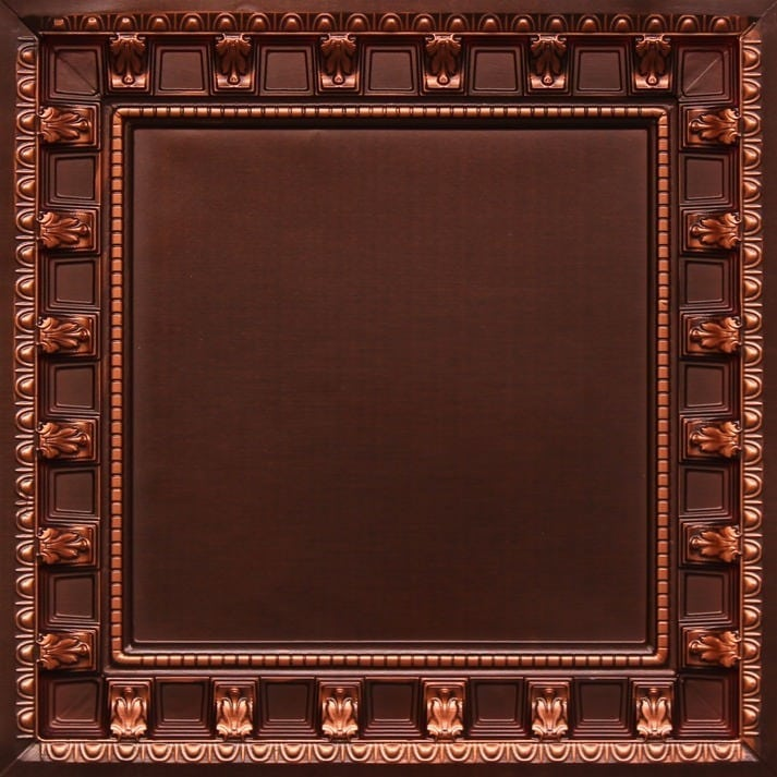 236 Antique Copper Faux Tin Ceiling Tile - coffered