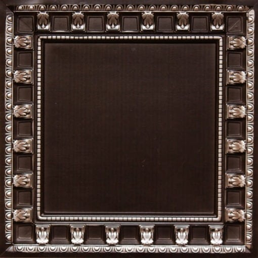 236 Antique Silver Faux Tin Ceiling Tile - coffered