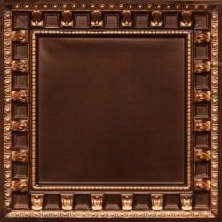 236 Antique Gold Faux Tin Ceiling Tile - coffered