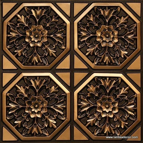 108 Antique Gold Faux Tin Ceiling Tile
