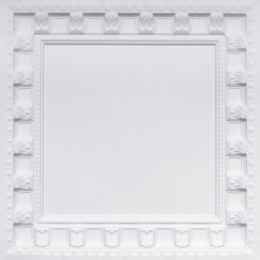236 White Matte Faux Tin Ceiling Tile - coffered