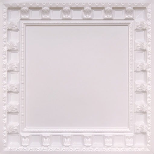 236 White Pearl Faux Tin Ceiling Tile - coffered