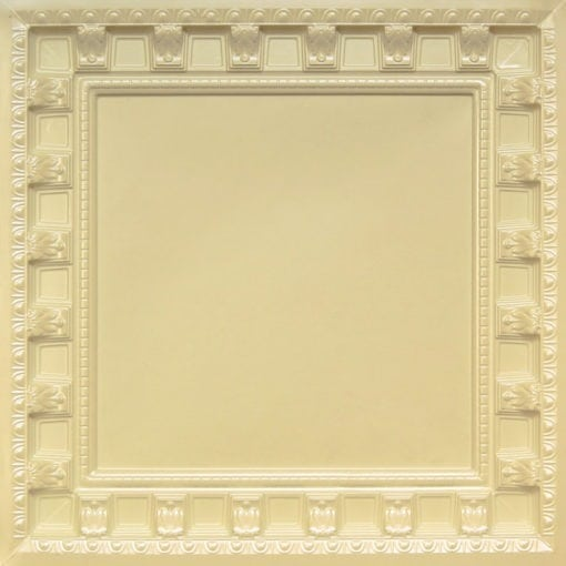 236 Cream Pearl Faux Tin Ceiling Tile - coffered