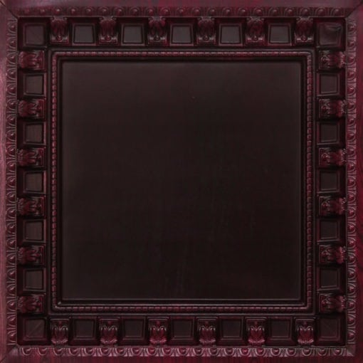 236 Antique Rosewood Faux Tin Ceiling Tile - coffered