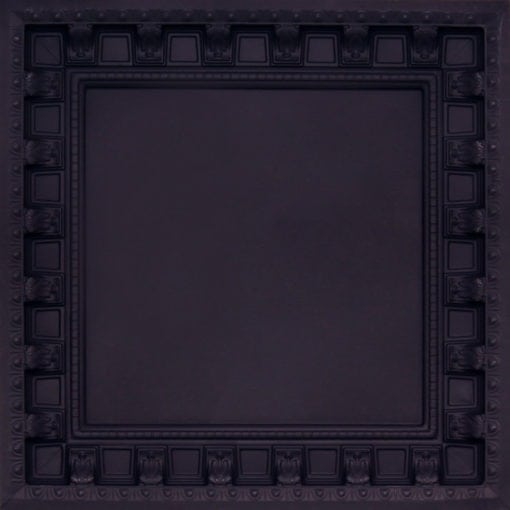 236 Black Matte Faux Tin Ceiling Tile - coffered