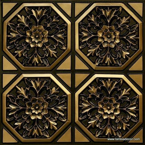 108 Antique Brass Faux Tin Ceiling Tile