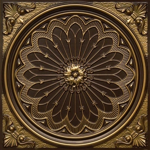 238 Antique Brass Faux Tin Ceiling Tile