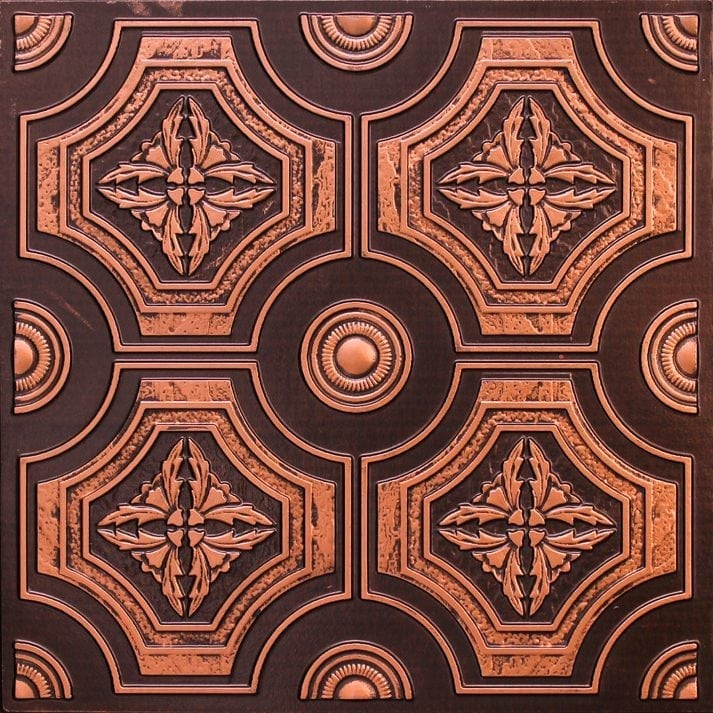 227 Antique Copper Faux Tin Ceiling Tile