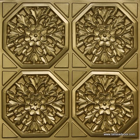 108 Brass Faux Tin Ceiling Tile