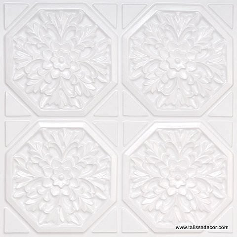 108 White Pearl Faux Tin Ceiling Tile