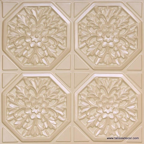 108 Cream Pearl Faux Tin Ceiling Tile