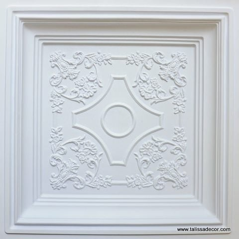 TD03 White Matte Faux Tin Ceiling Tile - Talissa Signature Collection