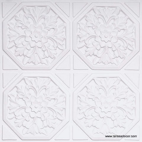 108 White Matte Faux Tin Ceiling Tile