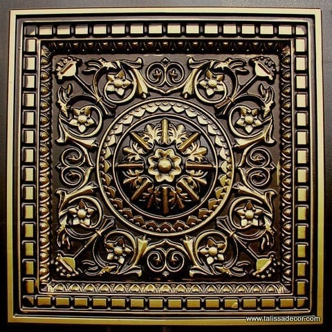 215 Antique Brass Faux Tin Coffered Ceiling Tile