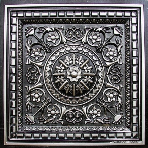 215 Antique Silver Faux Tin Coffered Ceiling Tile